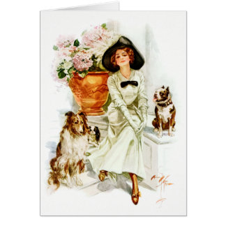 Harrison Fisher: Woman with three Dogs Greeting Card