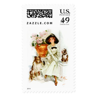 Harrison Fisher: Woman with three Dogs Stamp