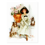Harrison Fisher: Woman with three Dogs Postcard
