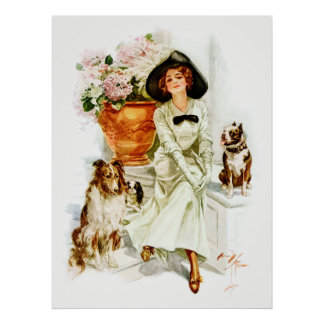 Harrison Fisher: Woman with three Dogs Poster