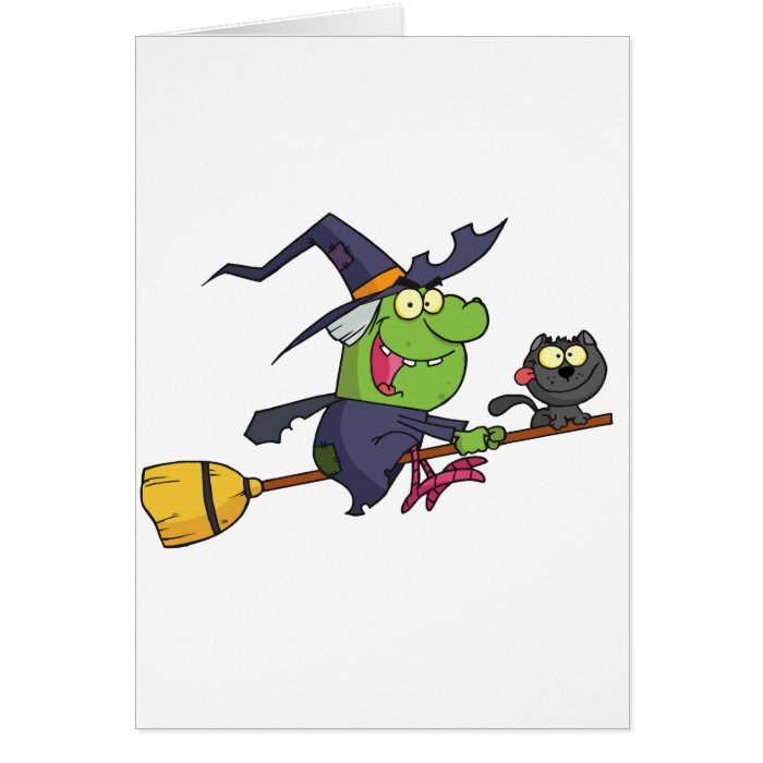 Harrison rode a broomstick with a cat card