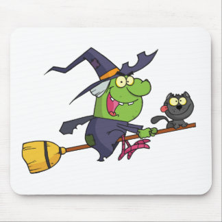 Harrison rode a broomstick with a cat mouse pad