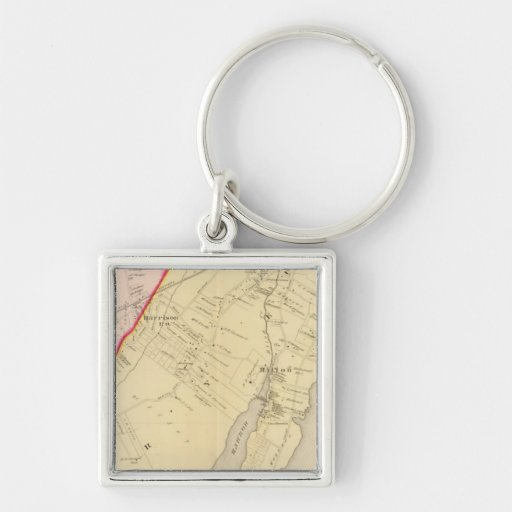 Harrison, Rye, New York 2 Silver-Colored Square Keychain