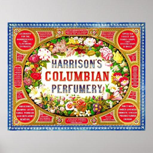 Harrison's Columbian Perfumery 1854 Poster