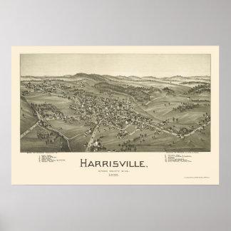 Harrisville, mapa panorámico de WV - 1899 Póster