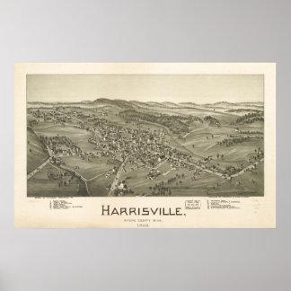 Harrisville W. Virginia 1899 Antique Panoramic Map Poster