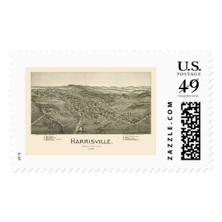 Harrisville, WV Panoramic Map - 1899 Postage