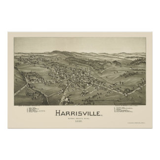 Harrisville, WV Panoramic Map - 1899 Poster