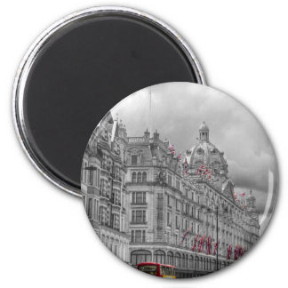 Harrods of Knightsbridge bw hdr 2 Inch Round Magnet