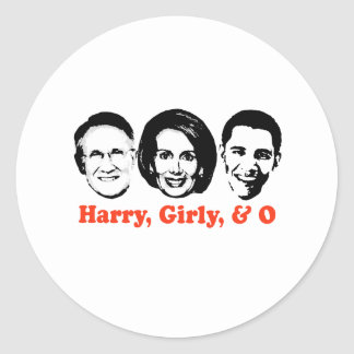 Harry, Girly, and O red Classic Round Sticker