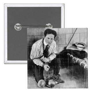 Harry Houdini About to Escape from Prison 2 Inch Square Button