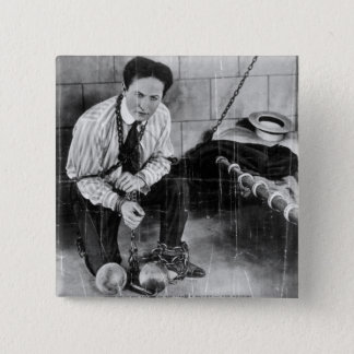 Harry Houdini About to Escape from Prison Button