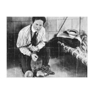 Harry Houdini About to Escape from Prison Stretched Canvas Print