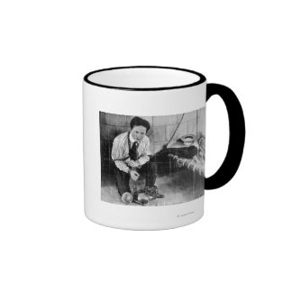 Harry Houdini About to Escape from Prison Ringer Coffee Mug