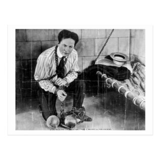 Harry Houdini About to Escape from Prison Postcard
