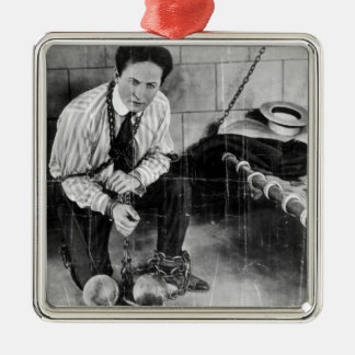 Harry Houdini About to Escape from Prison Square Metal Christmas Ornament