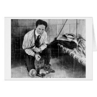 Harry Houdini alrededor a escaparse de la prisión Tarjetón