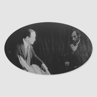 Harry Houdini and the Ghost of Abraham Lincoln Oval Sticker