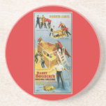 Harry Houdini Buried Alive Vintage Magician Poster Drink Coaster