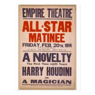 "Harry Houdini, como teatro retro ""de un mago"" Tarjetas Postales"