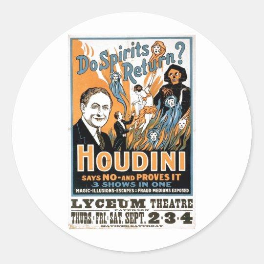 Harry Houdini Magic Show - Ghostbuster 1909 Classic Round Sticker