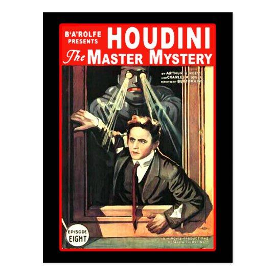 Harry Houdini Pulp Fiction Style Illustration Postcard