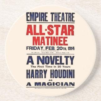 Harry Houdini Restored 1914 white billboard Sandstone Coaster