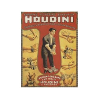 HARRY HOUDINI (THE KING OF CUFF'S) WOOD POSTER