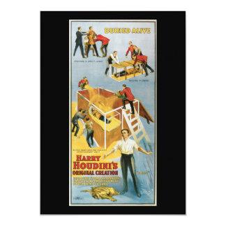 """Harry Houdini, vintage vivo enterrado Poster, 1914 Invitación 5"""" X 7"""""""