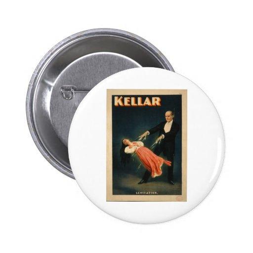 Harry Kellar realiza magia de la levitación 1895 Pin Redondo 5 Cm