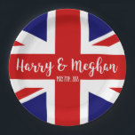 "Harry &amp; Meghan | Royal Wedding Celebration Paper Plate<br><div class=""desc"">NewParkLane - Royal Wedding Paper plates to celebrate the Royal Wedding between Prince Harry and Meghan Markle with the British Flag - the UnionJack - and &#39; Harry &amp; Meghan&#39; in elegant script typography. Easy to customize in Zazzle with your own names for a personalized design. All text styles, colors,...</div>"