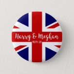 """Harry &amp; Meghan   Royal Wedding Commemoration Button<br><div class=""""desc"""">NewParkLane - Royal Wedding Button to commemorate the Royal Wedding between Prince Harry and Meghan Markle on May 19th, 2018, with the British Flag - the UnionJack - and &#39; Harry &amp; Meghan&#39; in elegant script typography. The perfect souvenir of this historic event! Check out this collection for matching items....</div>"""