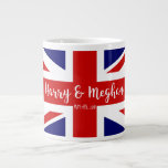 "Harry &amp; Meghan | Royal Wedding Commemoration Giant Coffee Mug<br><div class=""desc"">NewParkLane - Royal Wedding Mug to commemorate the Royal Wedding between Prince Harry and Meghan Markle on May 19th, 2018, with the British Flag - the Union Jack - and &#39; Harry &amp; Meghan&#39; in elegant script typography. The perfect souvenir of this historic event! Check out this collection for matching...</div>"