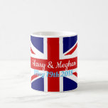 """Harry &amp; Meghan, Union Jack Coffee Mug<br><div class=""""desc"""">Celebrate the Royal Wedding,  of Prince Harry to Meghan Markle. On May 19th,  2018,  the big event will be cheered far and wide. Be a part of it with this commemorative mug. Join in the Royal festivities!</div>"""