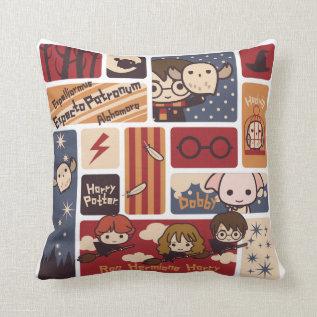 Harry Potter Cartoon Scenes Pattern Throw Pillow at Zazzle