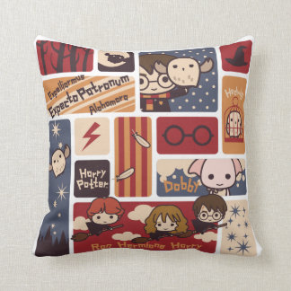 Harry Potter Cartoon Scenes Pattern Throw Pillow