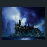 "Harry Potter Castle | Hogwarts at Night Poster<br><div class=""desc"">Hogwarts Castle lit up with moonlight on a magical evening. This Harry Potter School for witchcraft and wizardry is the perfect design to really stand out as a Potterhead. A painting styled with a vintage look of the moonlight, sky and castle itself on a hill. This magic wizard school is...</div>"