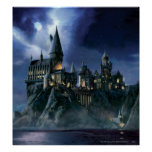 Harry Potter Castle   Moonlit Hogwarts Poster<br><div class='desc'>Learn magic with Harry Potter and friends at Hogwarts School of Witchcraft and Wizardry! This castle done in a cool painting style is just the thing for kids and other Harry Potter fans! Retro art stylings that never go out of fashion. The night may look ominous but thankfully we have...</div>