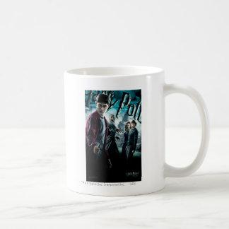 Harry Potter con Dumbledore Ron y Hermione 1 Taza Básica Blanca