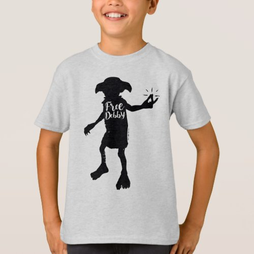 Harry Potter  Free Dobby Silhouette Typography T_Shirt