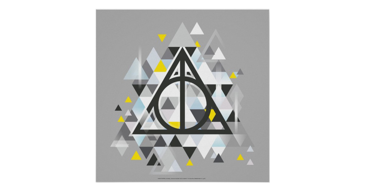 Harry Potter Geometric Deathly Hallows Symbol Poster Zazzle