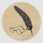 HARRY POTTER™ Glasses And Quill Classic Round Sticker