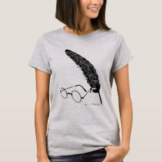 Harry Potter   Glasses And Quill T-shirt at Zazzle
