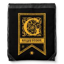 Harry Potter   Gryffindor Monogram Banner Drawstring Bag