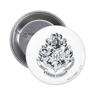 Harry Potter | Hogwarts Crest - Black and White Button