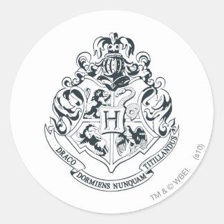 Harry Potter | Hogwarts Crest - Black and White Classic Round Sticker