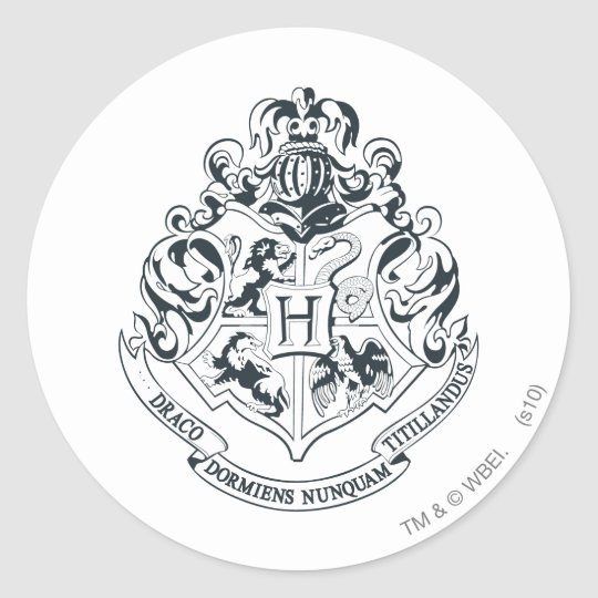 Harry Potter | Hogwarts Crest - Black and White Classic Round Sticker