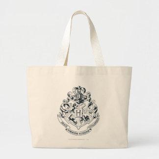 Harry Potter | Hogwarts Crest - Black and White Large Tote Bag