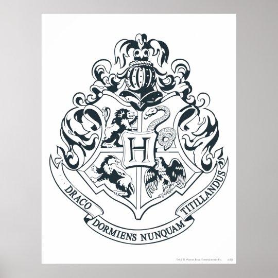 Harry Potter   Hogwarts Crest - Black and White Poster