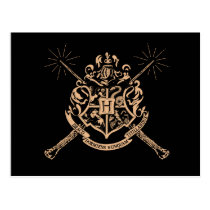 Harry Potter   Hogwarts Crossed Wands Crest Postcard